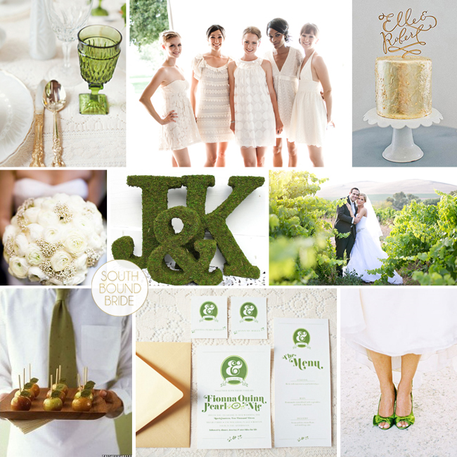 Pantone Greenery Inspiration Board: Greenery & Gold | SouthBound Bride