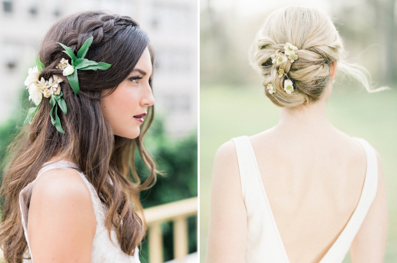 20 bridal hairstyles with real flowers southbound bride. Black Bedroom Furniture Sets. Home Design Ideas