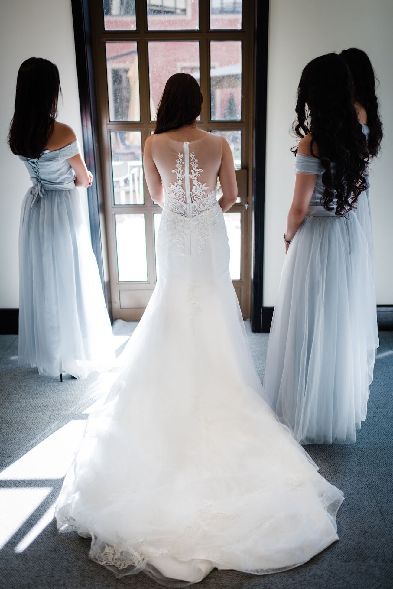 Bridesmaids in Silver Grey Dresses and Bride in Elie Saab | Image: Wynand van der Merwe