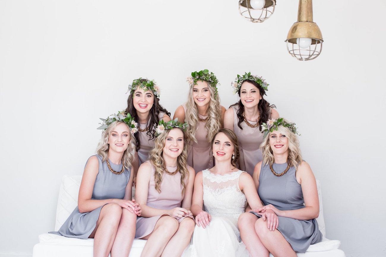 Grey and Blush Bridesmaid Dresses | Image: JCclick