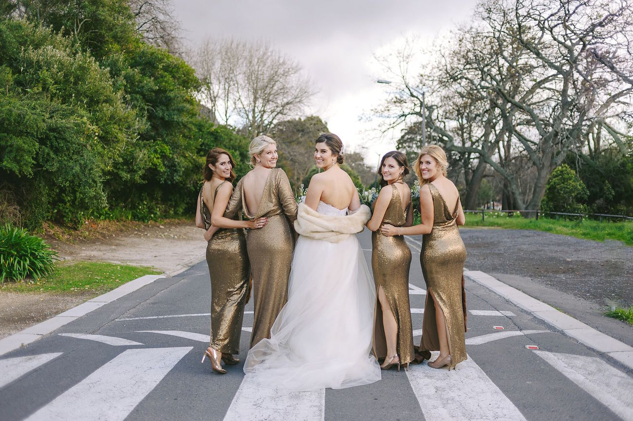 Gold Bridesmaid Dresses | Credit: Jani B & Bright and Beautiful