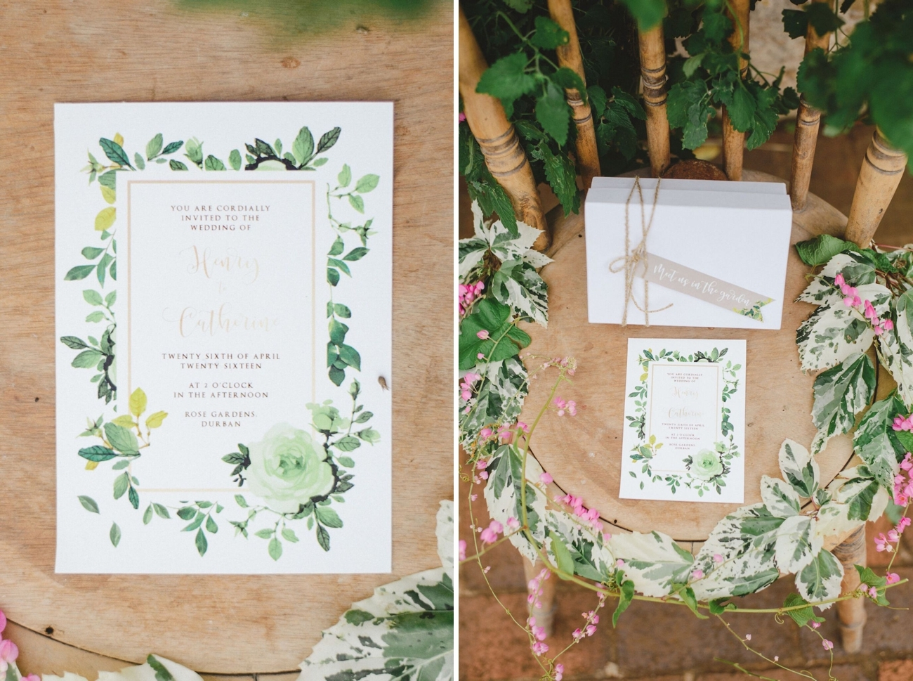 Greenery Wedding Invitation | Credit: Oh Happy Day & Roxanne Davison