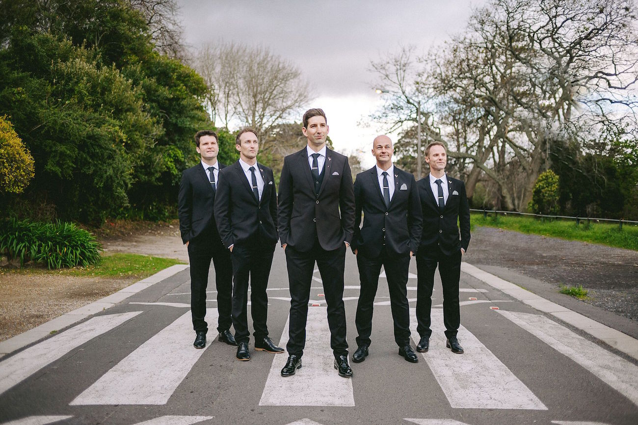 Groomsmen in Black Suits | Credit: Jani B & Bright and Beautiful