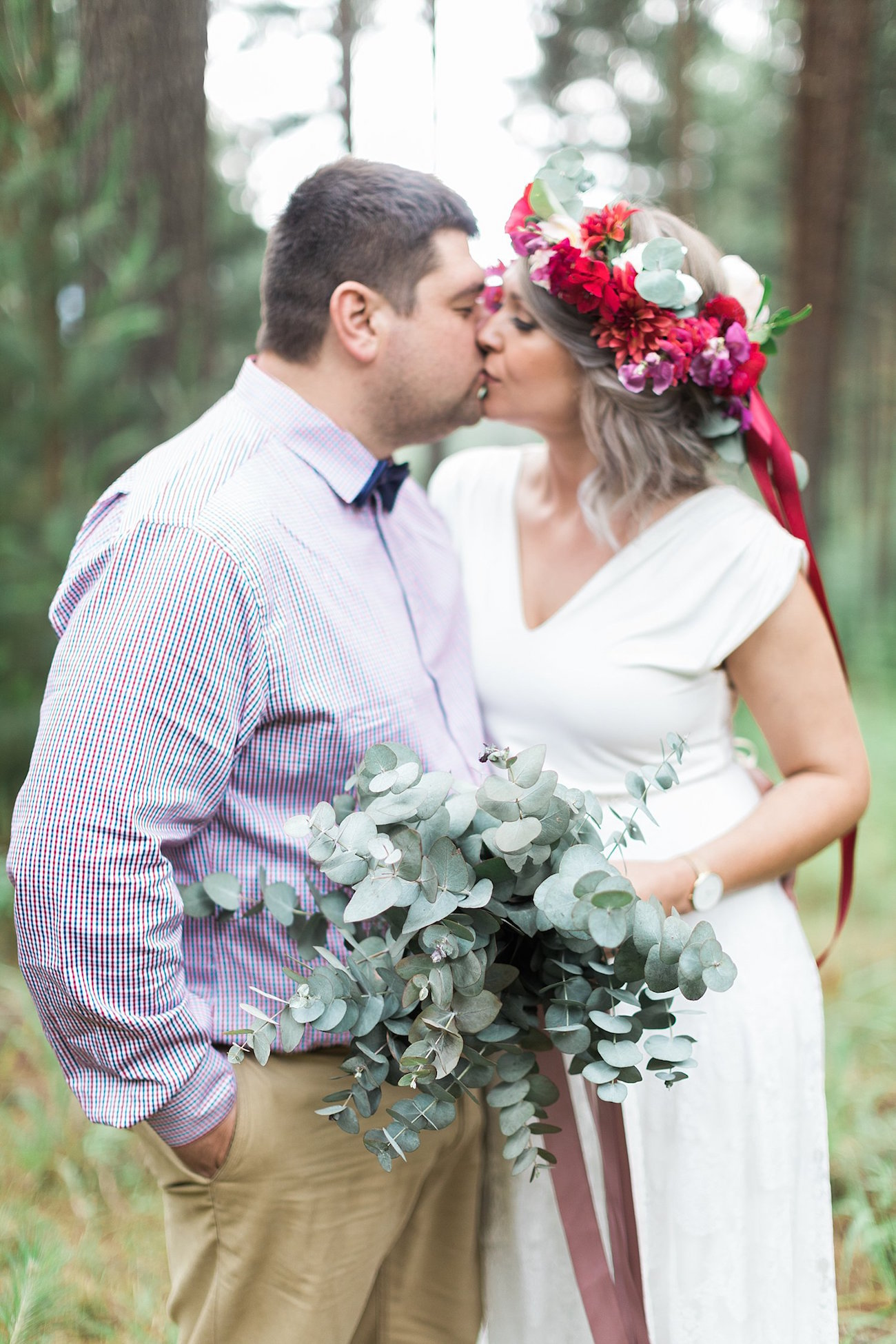 Forest Wedding Bride & Groom | Image: Alicia Landman