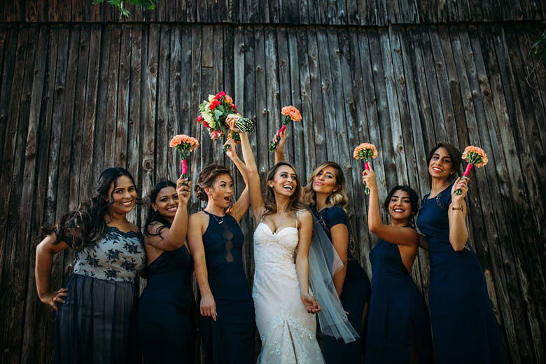 Bridesmaids in Mismatched Navy Dresses | Image: Moira West