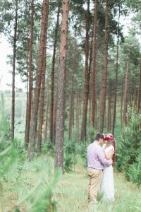 Bride and Groom in Forest | Image: Alicia Landman