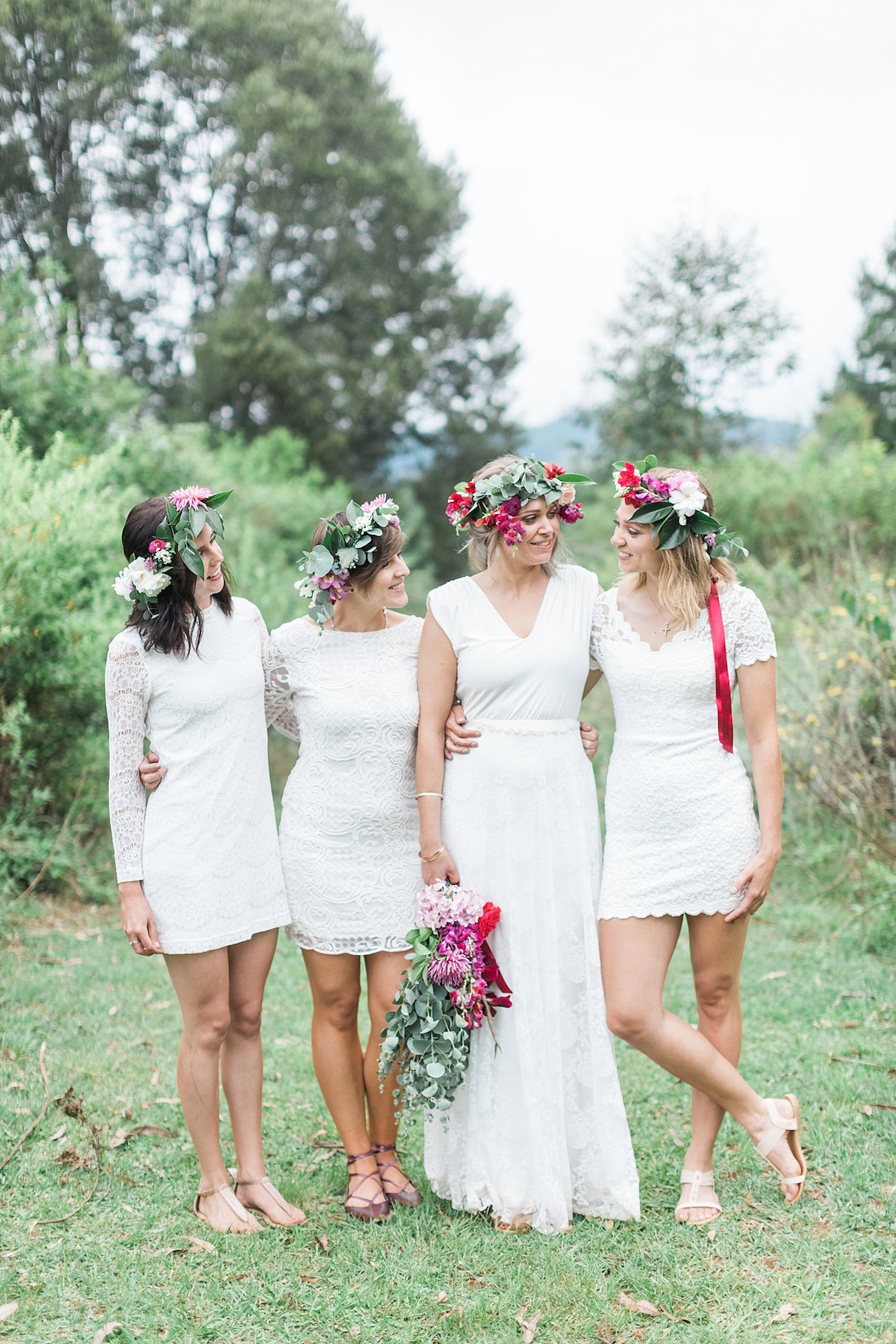 Bridesmaids in White Lace | Image: Alicia Landman