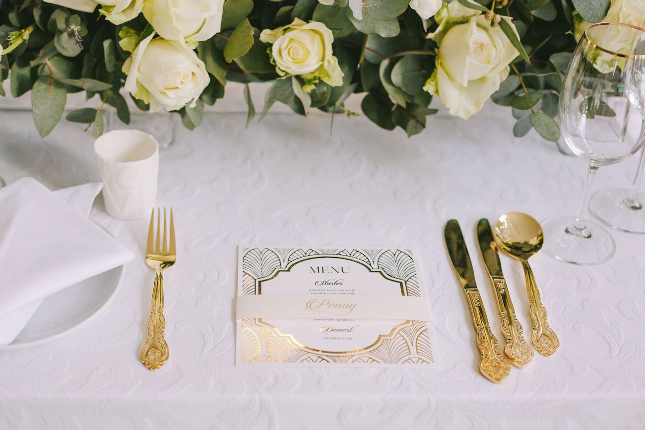 Vintage Glamour Winter Wedding Place Setting | Credit: Jani B & Bright and Beautiful