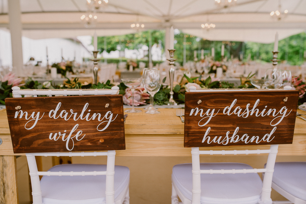 Romantic Wedding Chair Signs | Image: Lad & Lass Photography