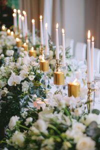 Tablescape with Gold Candles | Credit: Jani B & Bright and Beautiful