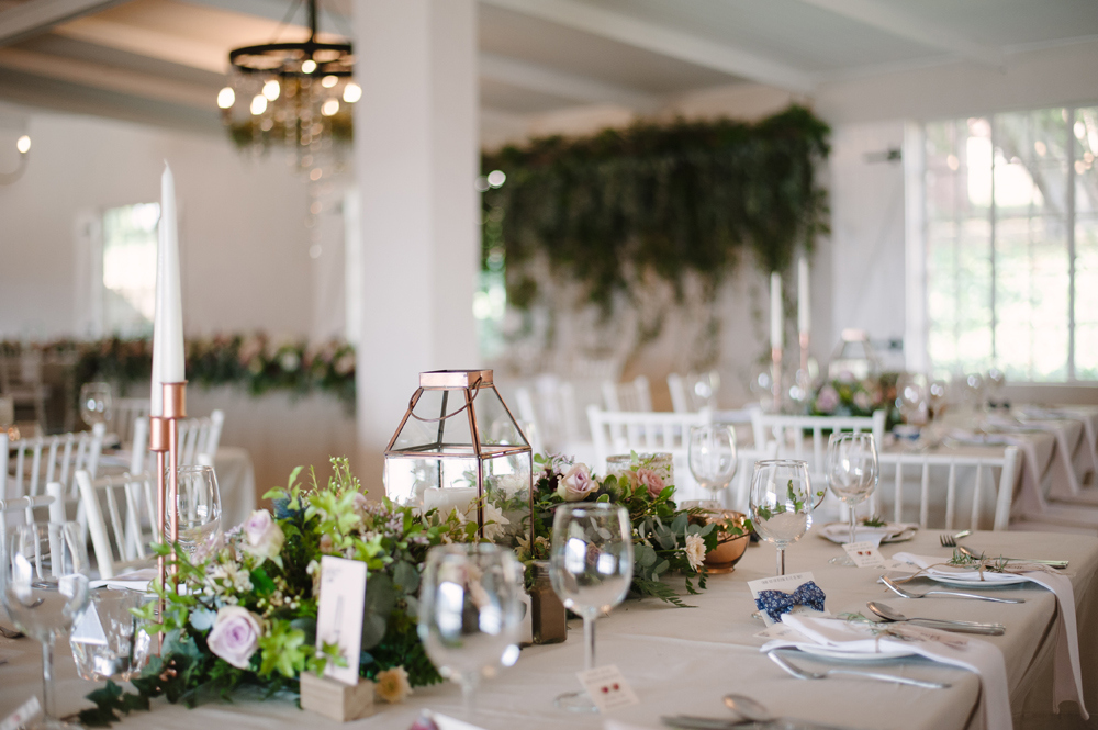 Romantic Rose Gold Farm Wedding Reception Decor | Image: Tanya Jacobs