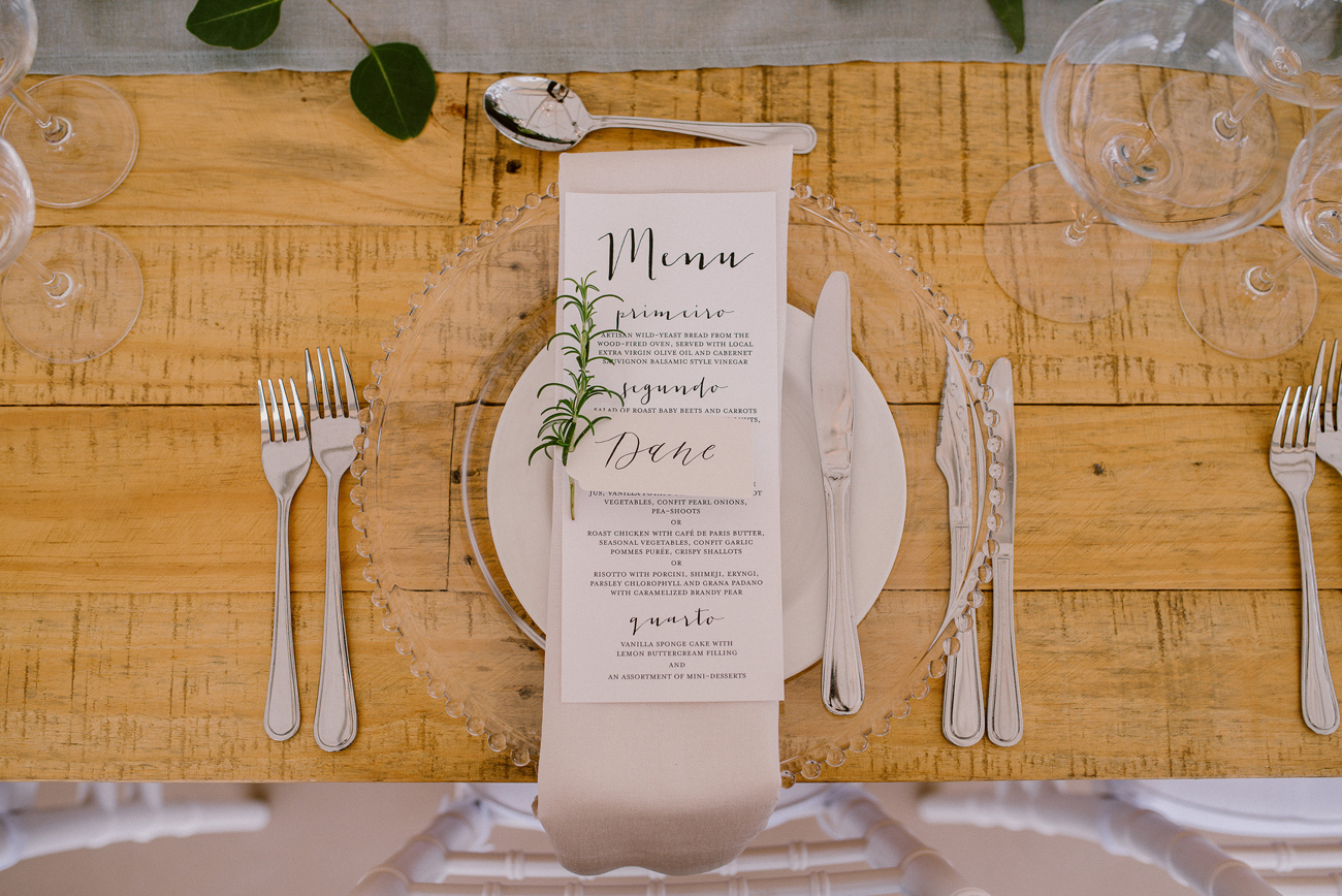 Place Setting with Rosemary Sprig | Image: Lad & Lass Photography