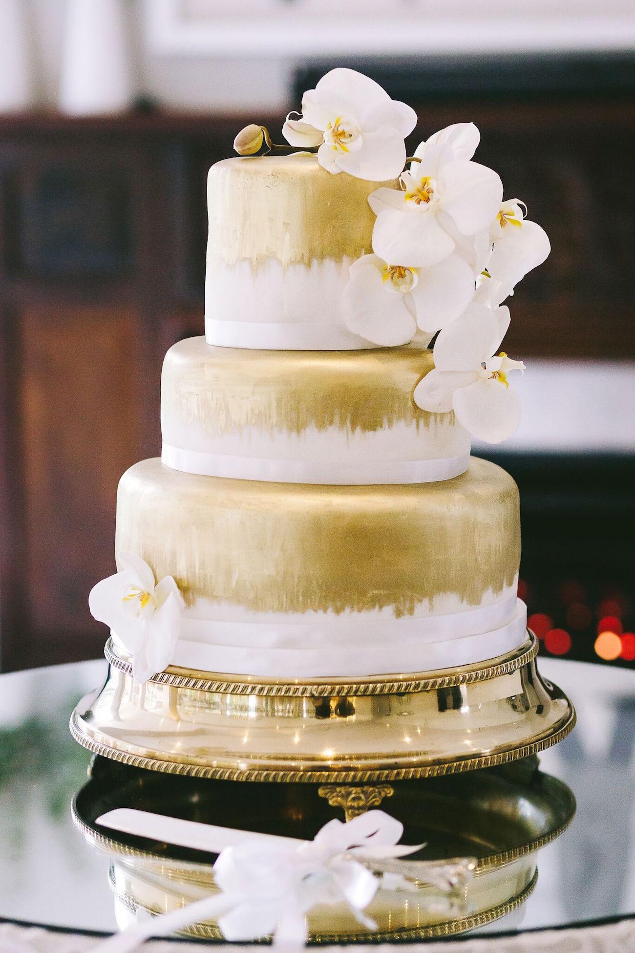 Gold Tiered Wedding Cake   Credit: Jani B & Bright and Beautiful