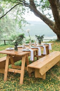 Wooden Picnic Tables Wedding | Image: Alicia Landman