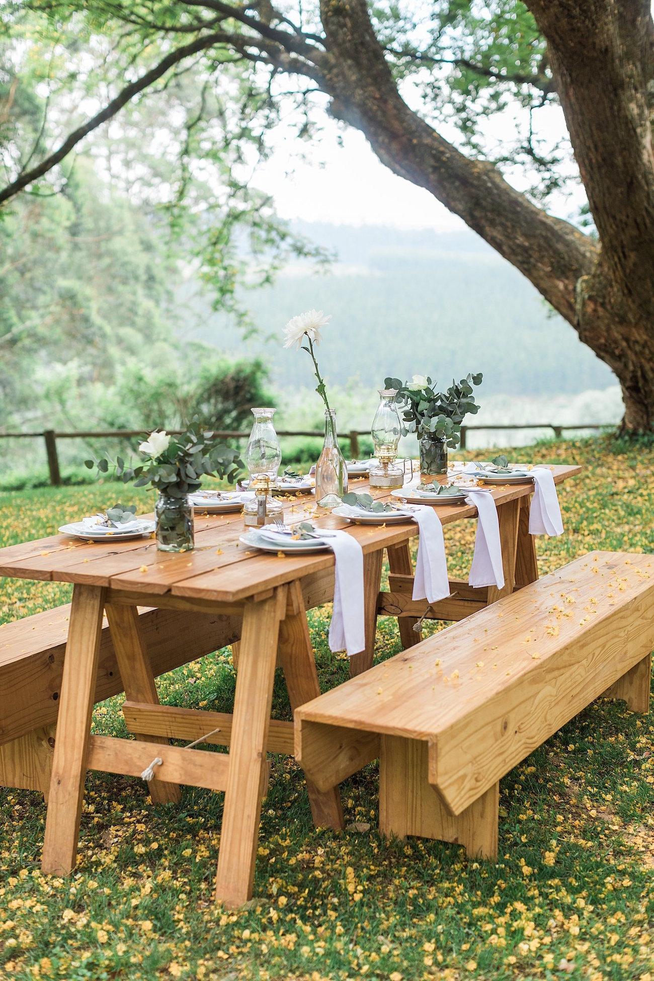 Wooden Picnic Tables Wedding | Image: Alicia Landman
