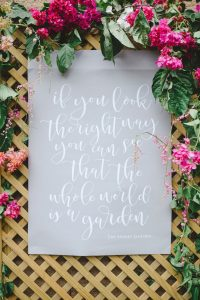 Secret Garden Calligraphy Quote | Credit: Oh Happy Day & Roxanne Davison