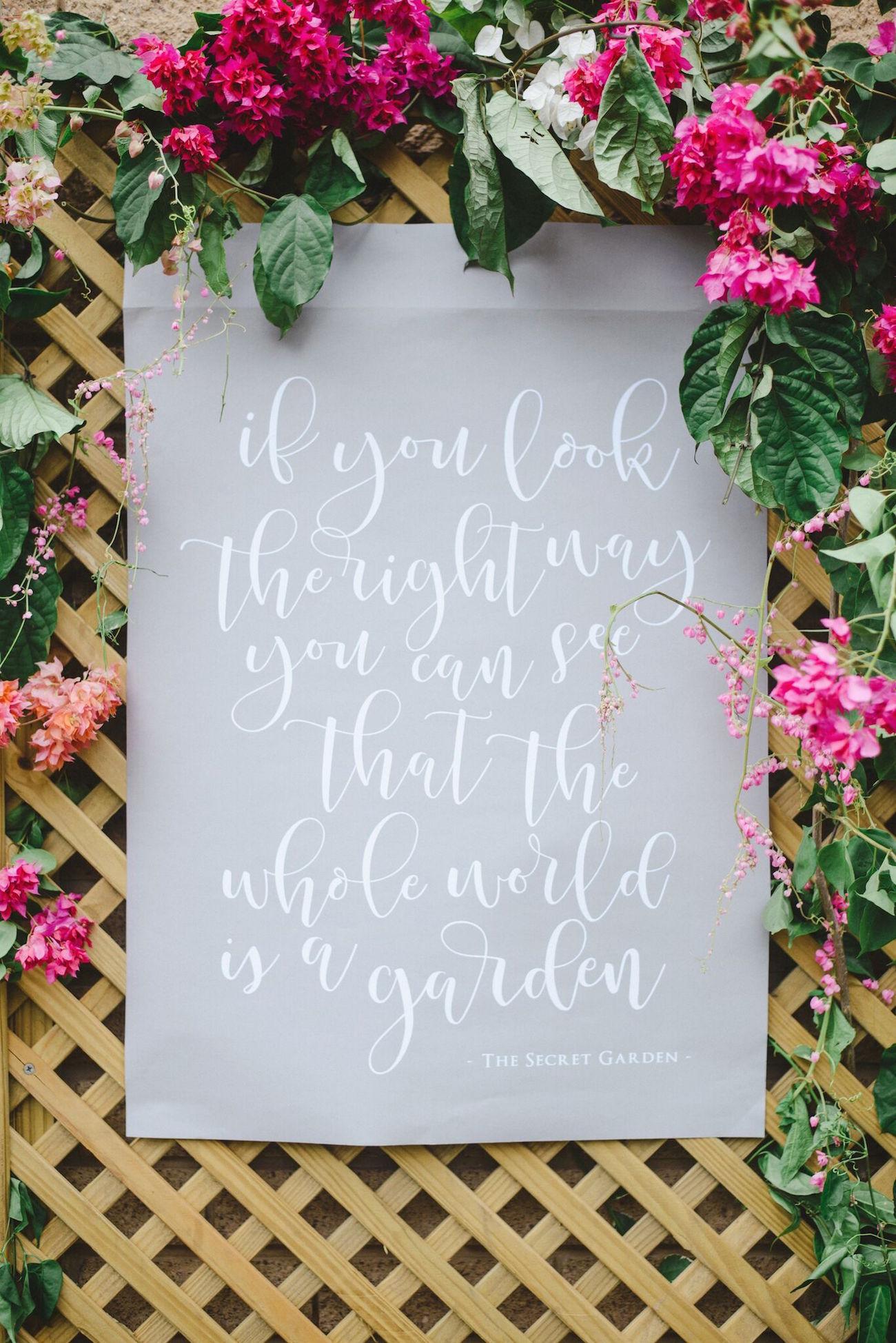 Secret Garden Calligraphy Quote | Credit: Oh Happy Day & Roxanne Davison