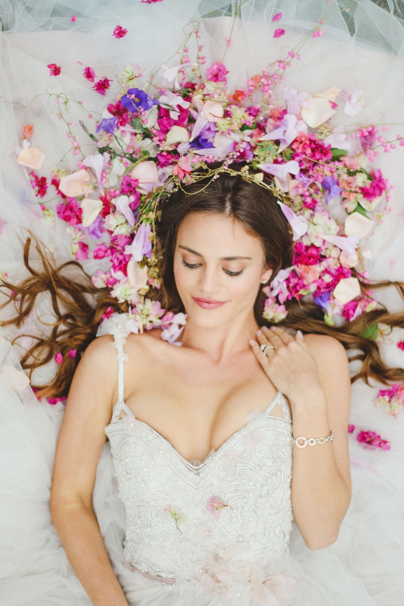 Bride with Flowers | Credit: Oh Happy Day & Roxanne Davison