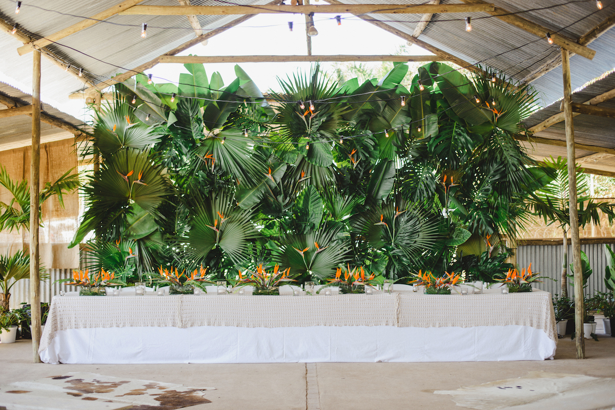 Tropical Greenery Wall Installation | Credit: Oh Happy Day & Dane Peterson