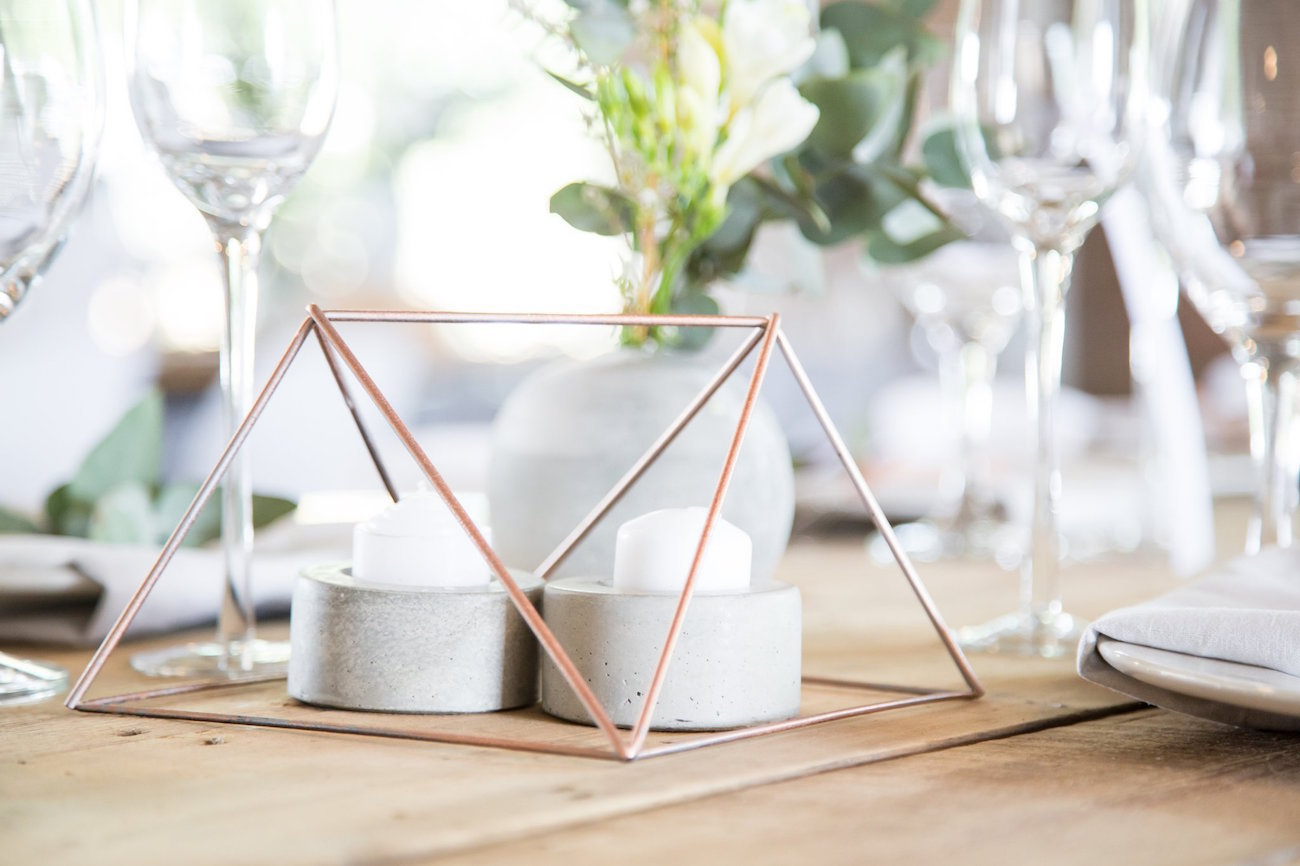 Copper Geometric Table Decor | Image: JCclick