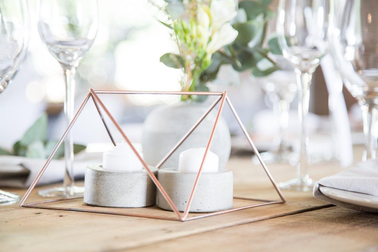 Copper Geometric Table Decor | Image: JCclick