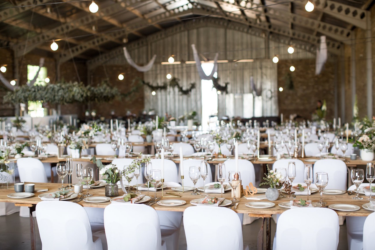 Industrial Greenery Wedding Decor | Image: JCclick