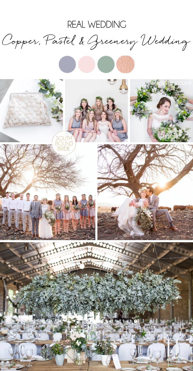 Copper Pastel Greenery Wedding
