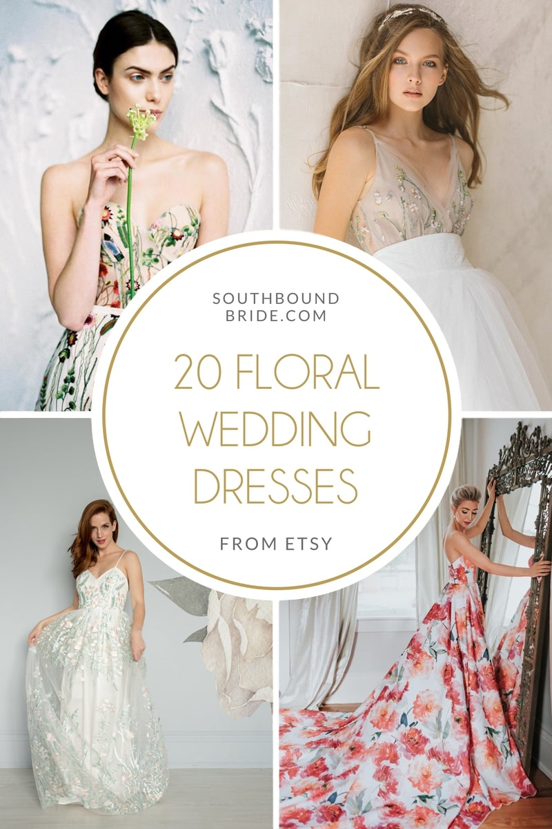 Floral Wedding Dresses from Etsy