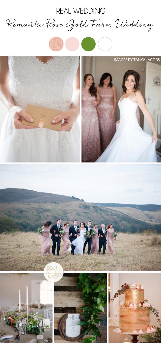 Romantic Rose Gold Farm Wedding