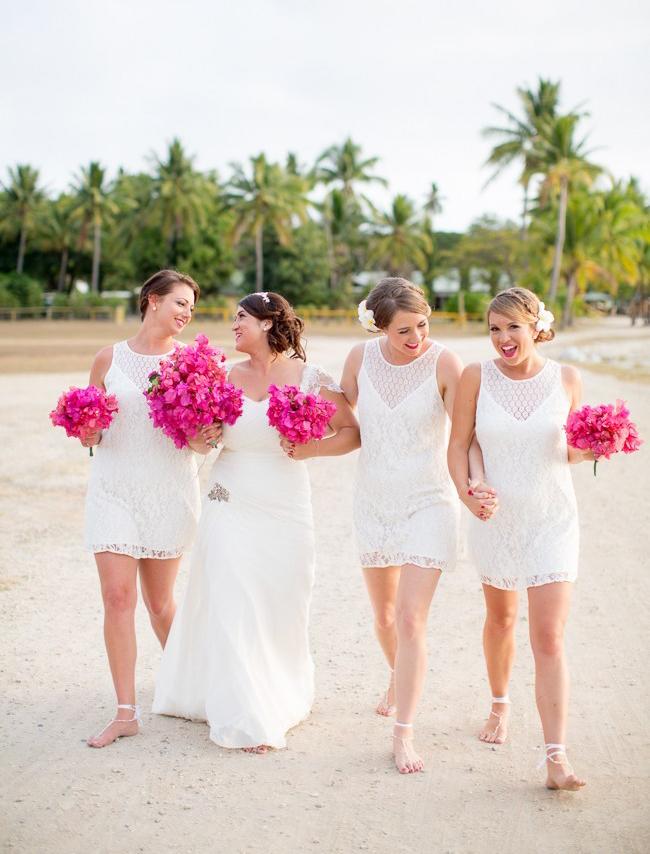 Little White Bridesmaid Dresses for Beach Wedding