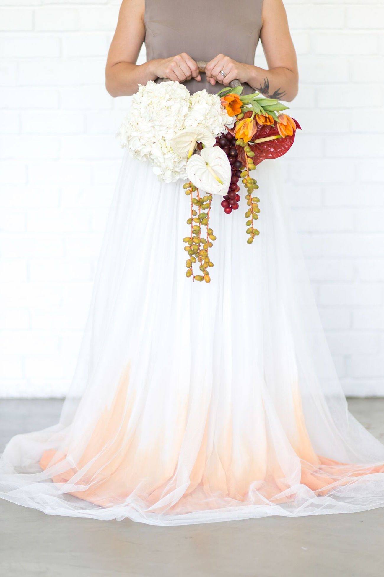 orange ombre wedding dress