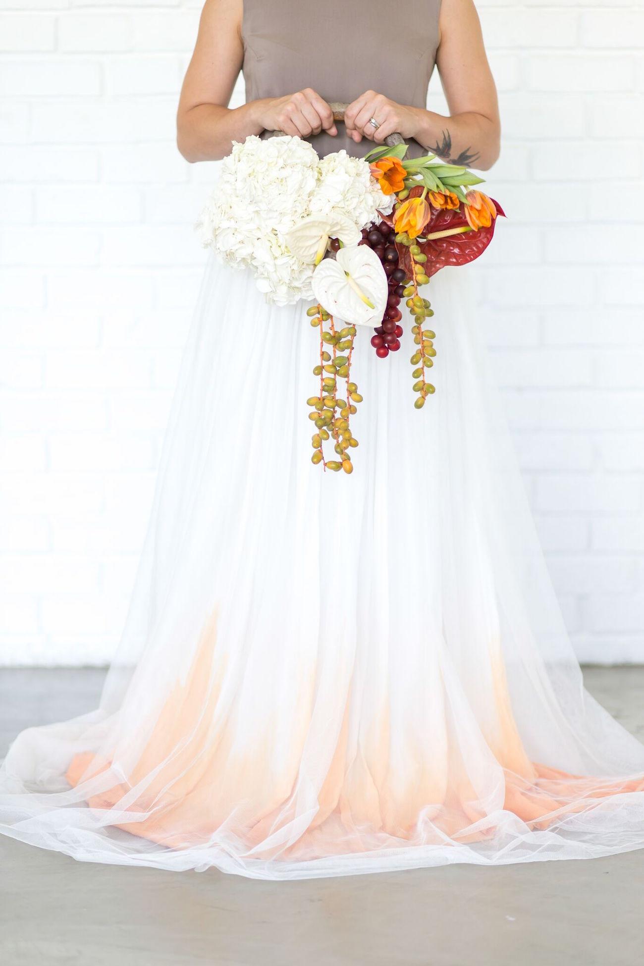 orange ombre wedding dress