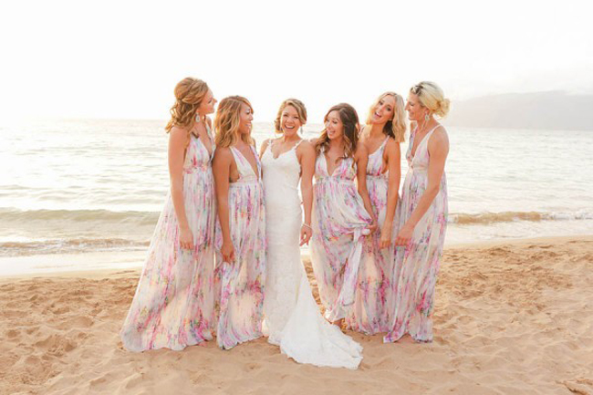 Long Floral Bridesmaid Dresses for Beach Wedding