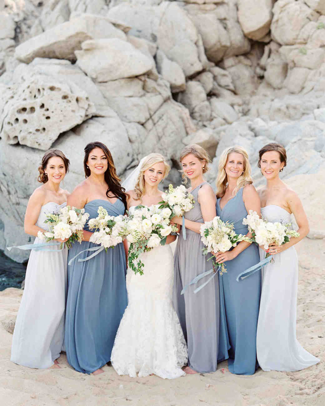 Shades of Blue Bridesmaid Dresses for Beach Wedding