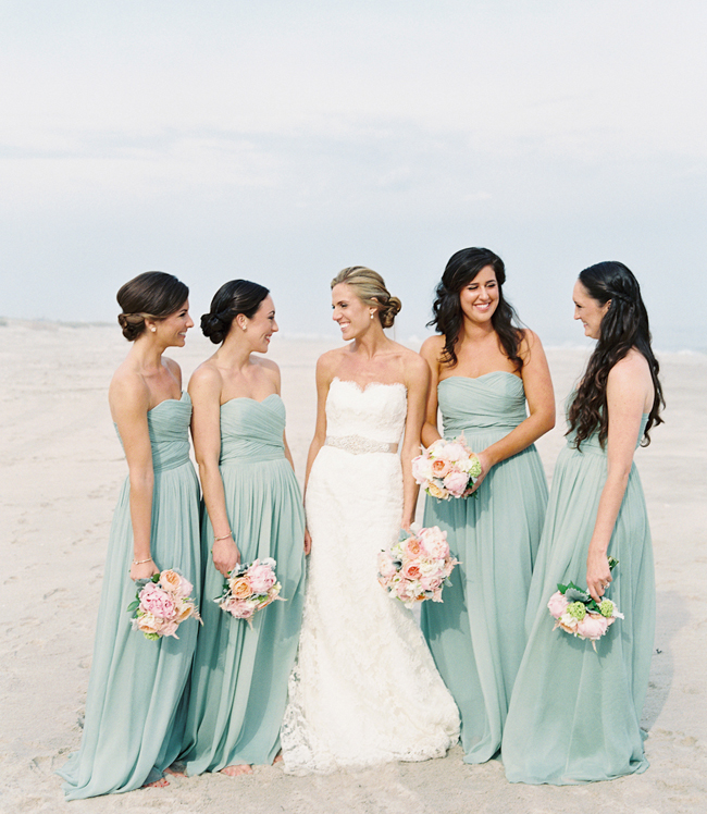 Seafoam Bridesmaid Dresses for Beach Wedding