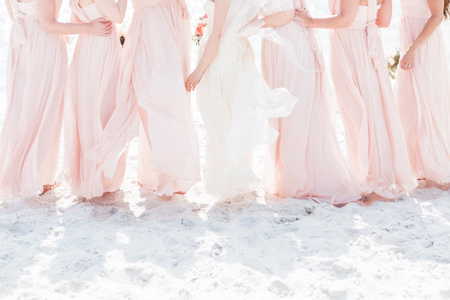 Long Blush Bridesmaid Dresses for Beach Wedding