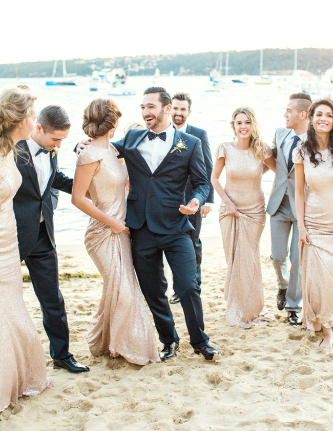 Gold Sequin Bridesmaid Dresses for Beach Wedding