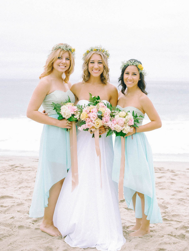 Hi-Lo Bridesmaid Dresses for Beach Wedding