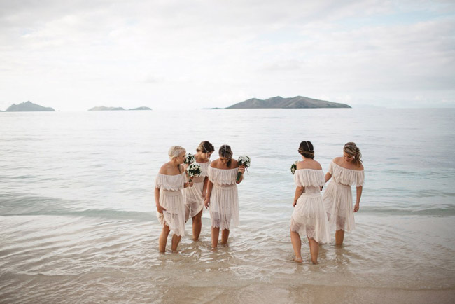 Off Shoulder Bridesmaid Dresses for Beach Wedding