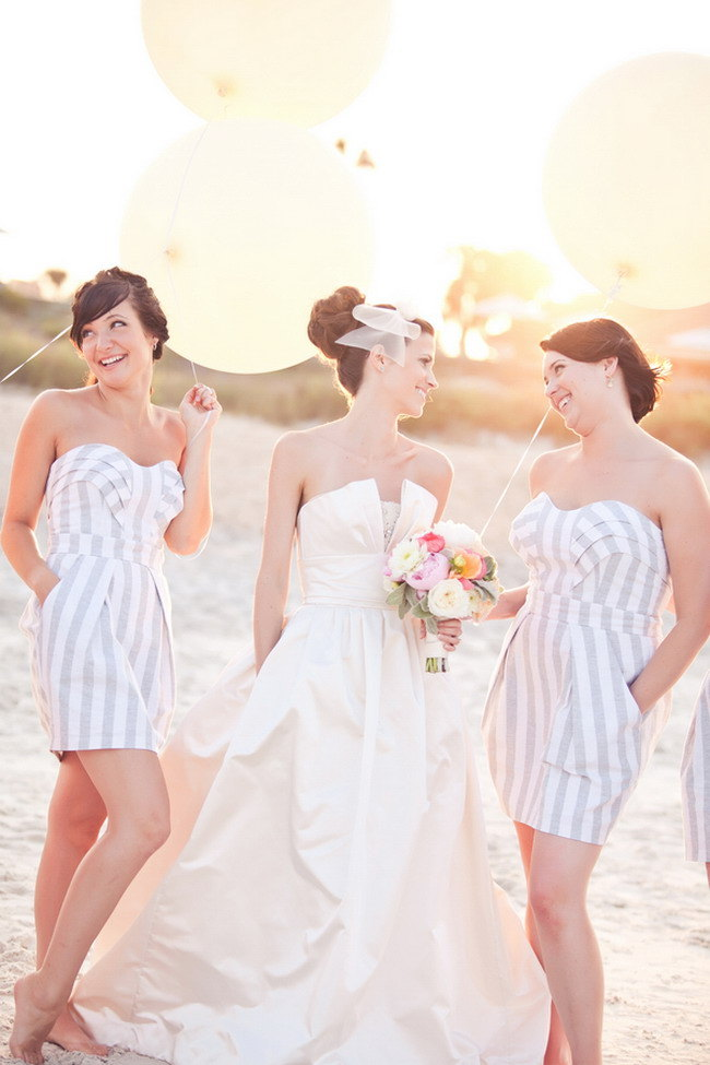 Striped Bridesmaid Dresses for Beach Wedding