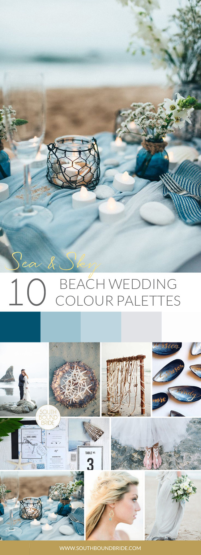 Sea & Sky Beach Wedding Palette | SouthBound Bride
