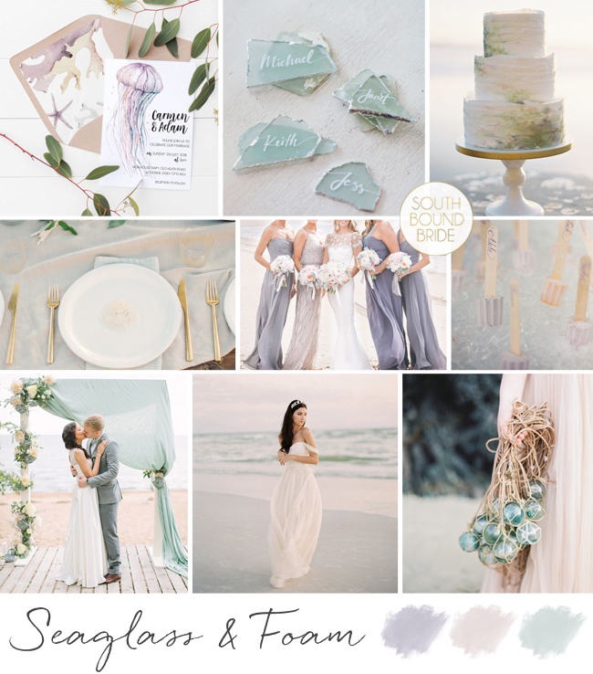 Seaglass & Foam Wedding Inspiration Board | SouthBound Bride