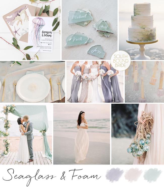 Seaglass & Foam Wedding Inspiration Board   SouthBound Bride
