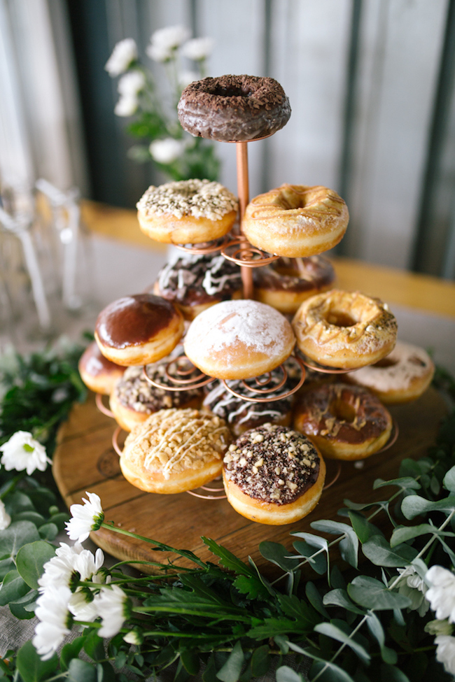 Donut Tower for Bridal Shower | Credit: Anike Benade