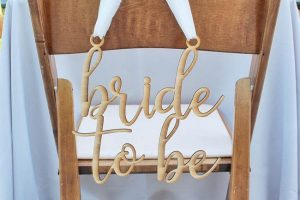 rustic bridal shower chair sign