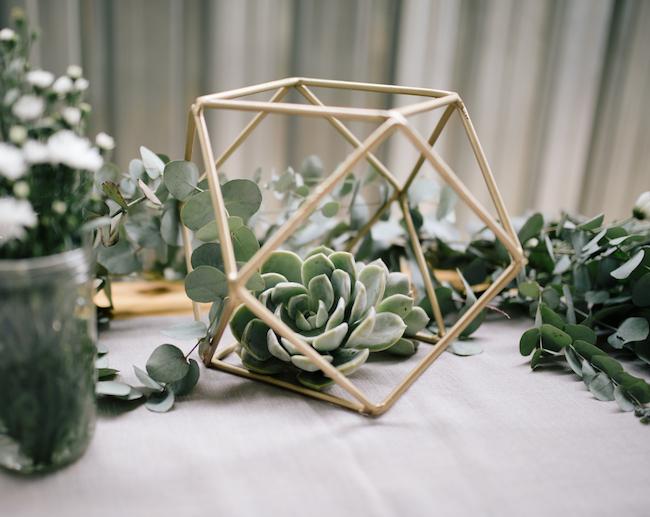 Geometric & Succulents Centerpiece | Credit: Anike Benade
