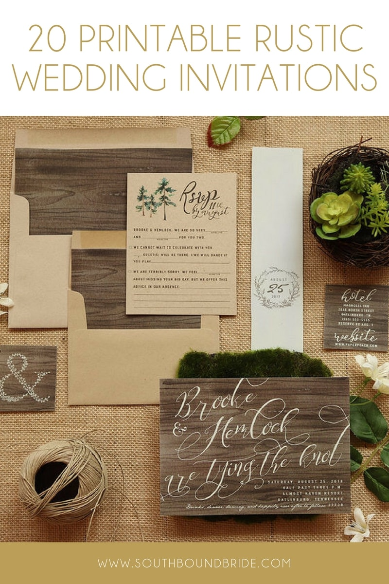 Printable Rustic Wedding Invitations from Etsy | SouthBound Bride