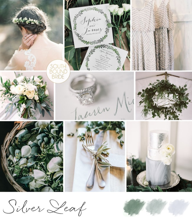 Silver Leaf Wedding Inspiration Board | SouthBound Bride