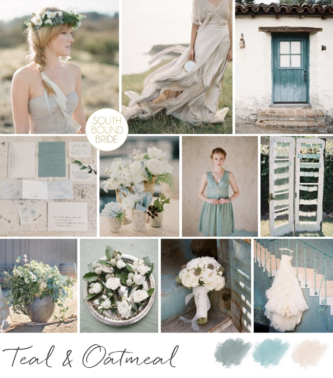 Teal & Oatmeal Inspiration Board | SouthBound Bride