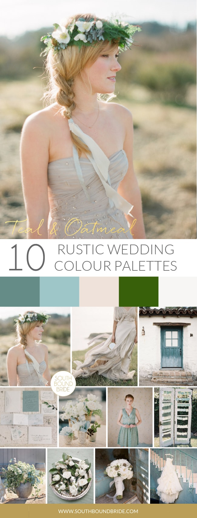 Teal & Oatmeal Rustic Wedding Palette